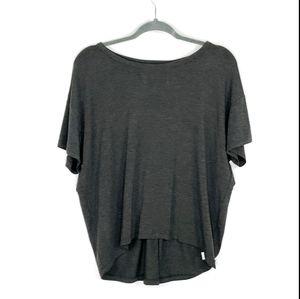 Athleta grey pullover open V twist in back szL